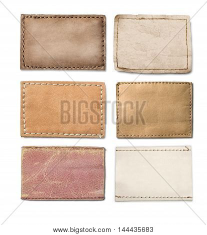 set of Leather jeans labels leather tags.