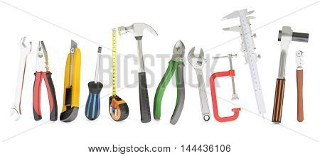 hand work tools 3D rendering isolated on white background