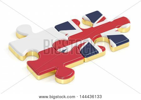 Poland and UK puzzles from flags 3D rendering