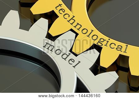 Technological Model concept on the metallic gearwheels 3D rendering