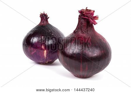Red onions isolated on white background with clipping path