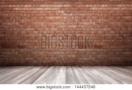 Red brick wall and wooden floor. Copyspace. Rough and ragged textures. Timber.