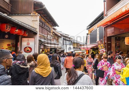 Kyoto, Japan - March 13, 2016: Tourists are enjoy walking in Kyoto Shopping Street.
