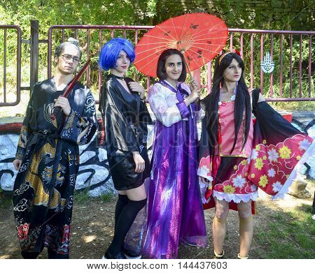Istanbul Turkey - Mayer 29 2016: Asian Cosplay Day Activity in Istanbul. Dressed as anime characters cosplay participants indicated they did. Costume cosplay participants Istanbul.