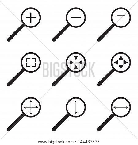 Magnifying glass web icon set. Magnifying glass icon enlarge and reduce zoom with width and height vector illustration