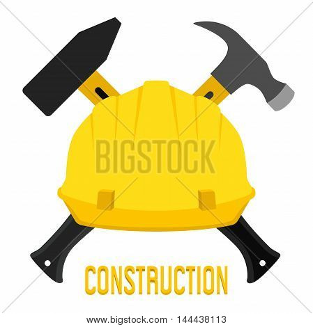 Vector illustration of construction, worker's helmet and hammers. Flat style for buildings, workers, safety stuff, architecture and engineering.