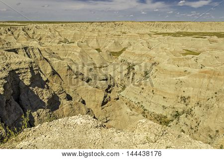 Badlands National Park Landscape in Summer Sun
