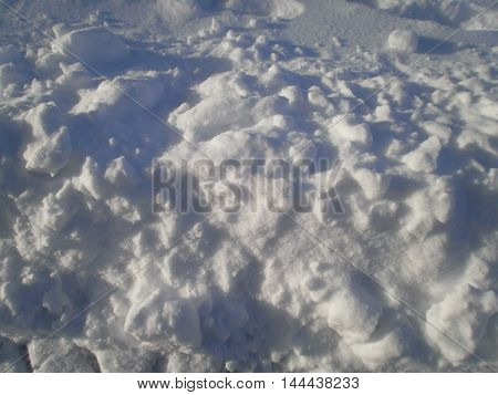 A ground full of snow, with sunlight