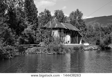 A private house around a small river
