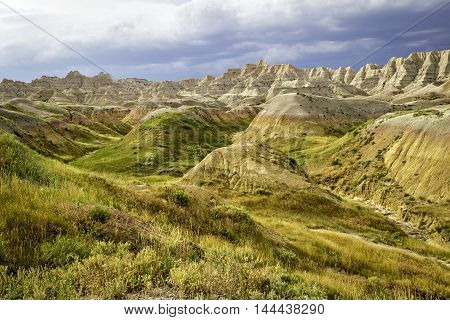 Grassy Hills in the Badlands National Park