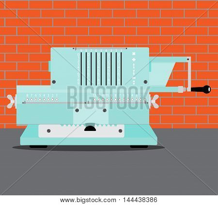 Adding machine flat. Calculator and accounting cash register and bookkeeping. Vector illustration
