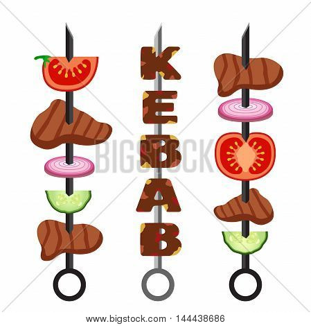 Set of kebab, minced meat. Vector grilled meat food and tasty barbecue. Cooked delicious traditional dish. Turkish kebab.