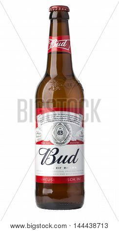 ChisinauMoldova - December 26 2016; A single bottle of Budweiser on white with clipping path. From Anheuser-Busch InBev Budweiser is one of the top selling domestic beers in the United States.
