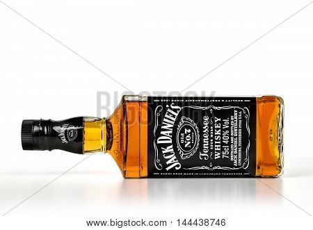 chisinau Moldova- November 14.2015: Single Botle of Jack Daniels # 7. Jack Daniel's is a brand of Tennessee whiskey that is the highest selling American whiskey in MOLDOVA and all over the world.