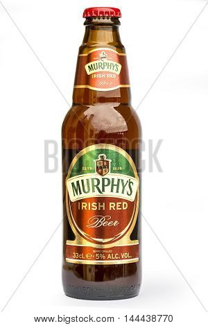 Mallorca Spain- April 30 2016: Murphy's Irish Red beer isolated on white | Murphy Brewery Ireland Limited
