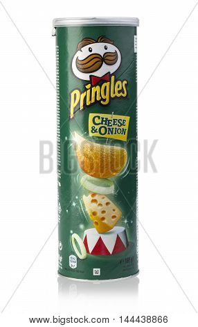 Chisinau Moldova - August 18 2016: Pringles potato chips isolated on white