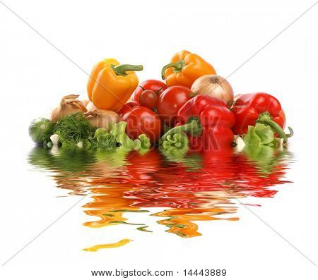 Different fresh tasty vegetables isolated on white background