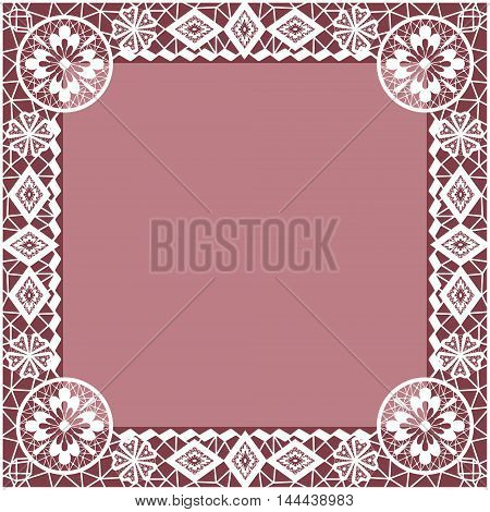 White lace frame with flowers and lacy elements on dark pink background