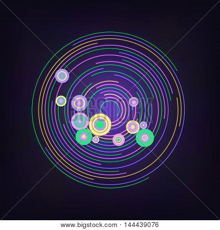 Vector illustration abstract neon dark retro circle