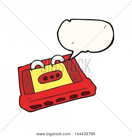 freehand drawn speech bubble cartoon cassette tape