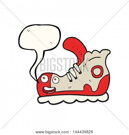 freehand drawn speech bubble cartoon sneaker