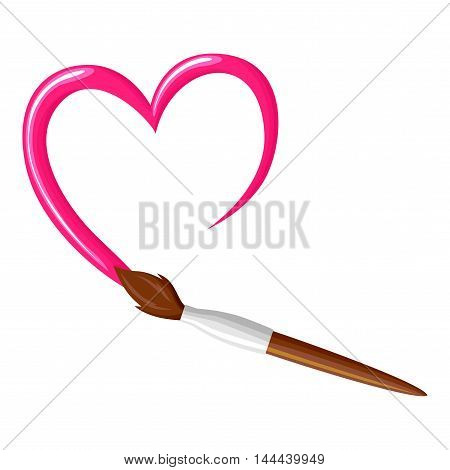 Vector illustrations of cartoon paintbrush draw pink heart