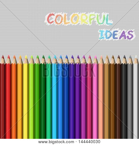 Vector illustration set Painting colored pencils 24