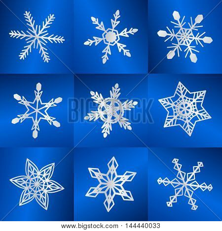 Vector illustration  Christmas cold white snowflakes winter