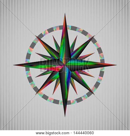 Vector illustration trip color circular wind rose