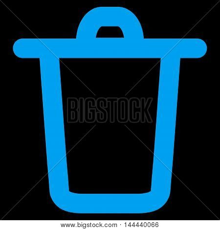 Bucket vector icon. Style is stroke flat icon symbol, blue color, black background.