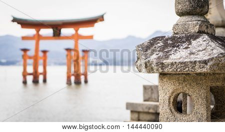 Miyajima Floating Torii focused on Stone decoration