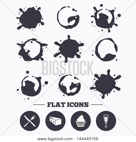 Paint, coffee or milk splash blots. Food icons. Muffin cupcake symbol. Fork and knife sign. Glass of champagne or wine. Slice of cheese. Smudges splashes drops. Vector