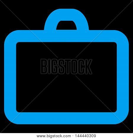 Case vector icon. Style is contour flat icon symbol, blue color, black background.