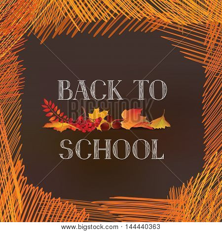 Back To School. Banner With  Autumn Leaves Over Chalkboard Background. Vector.