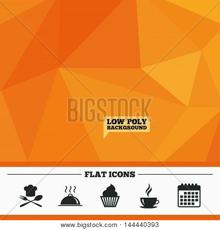 Triangular low poly orange background. Food and drink icons. Muffin cupcake symbol. Fork and spoon with Chef hat sign. Hot coffee cup. Food platter serving. Calendar flat icon. Vector
