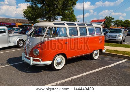 Lancaster PA - August 20 2016: A classic Volkswagen Window Van on display at a Cruise-in Summer Event at Rockvale Shopping Outlets.