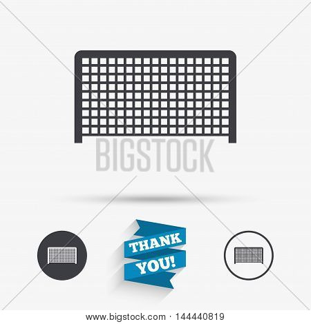 Football gate sign icon. Soccer Sport goalkeeper symbol. Flat icons. Buttons with icons. Thank you ribbon. Vector