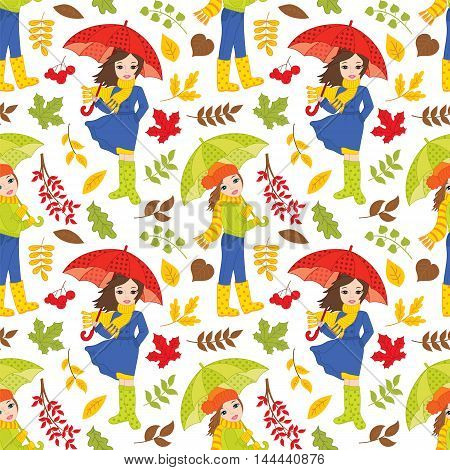 Vector seamless pattern with autumn girls, umbrellas, leaves and berries