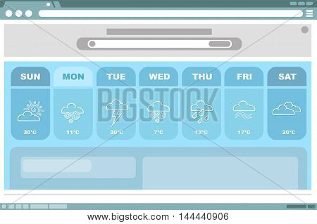 A vector illustration of Weather blue forecast with icons interface