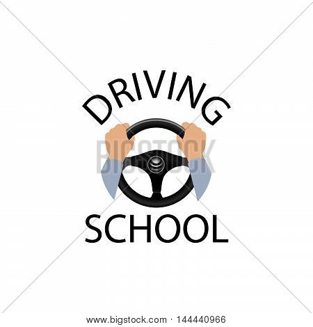 Driving School Sign. Diver Design Element With Hands Holding Steering Wheel. Vector Icon.