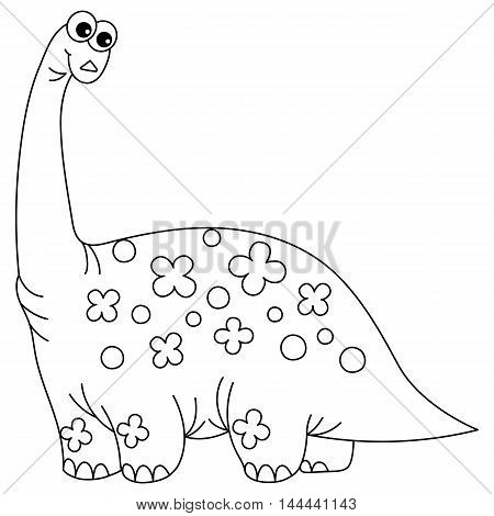 Vector black and white cartoon dinosaur with long neck