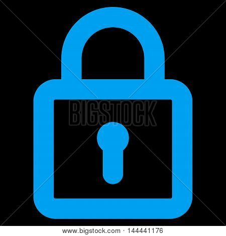 Lock vector icon. Style is contour flat icon symbol, blue color, black background.
