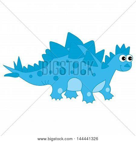 Vector cartoon cute blue dinosaur with spots
