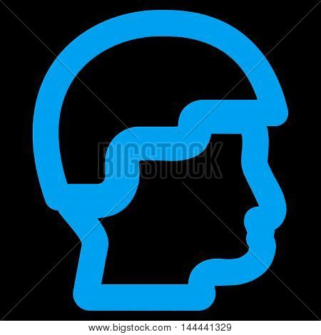 Sergeant Head vector icon. Style is linear flat icon symbol, blue color, black background.