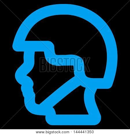 Soldier Head vector icon. Style is contour flat icon symbol, blue color, black background.