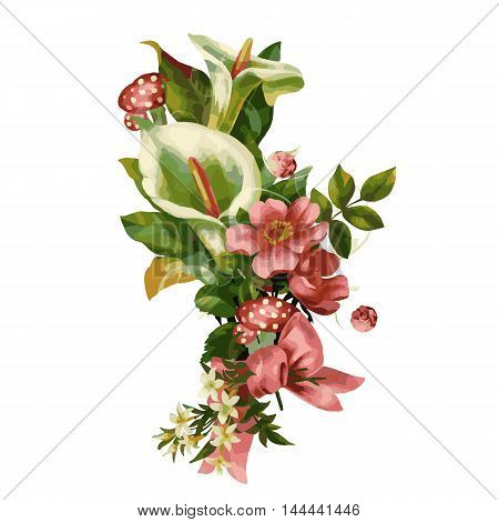 Flowers watercolor illustration. Manual composition. Mother's Day, wedding, birthday, Easter, Valentine's Day. Pastel colors Spring Summer
