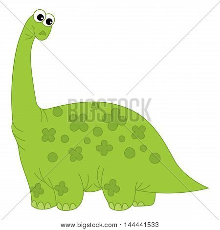 Vector cartoon green dinosaur with long neck