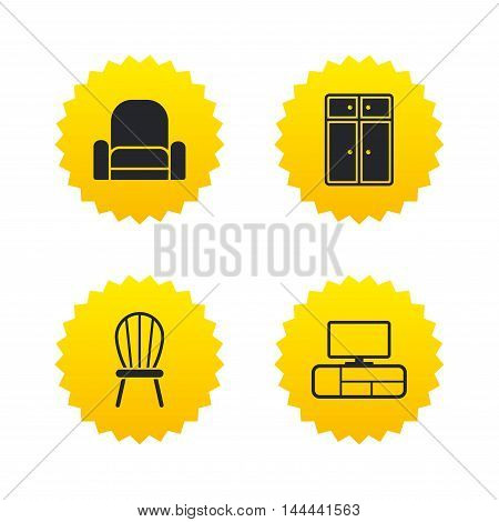 Furniture icons. Cupboard, chair and TV table signs. Modern armchair symbol. Yellow stars labels with flat icons. Vector