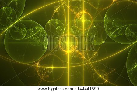 golden circles and spiral fractal background backdrop image