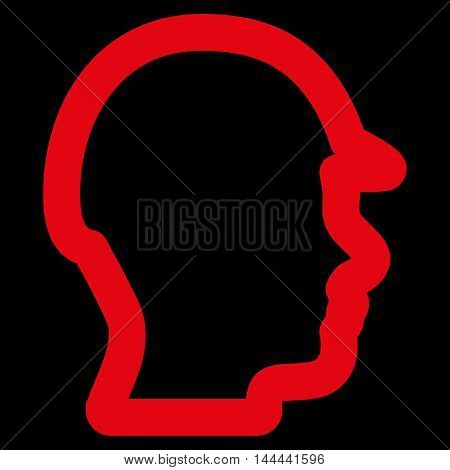 Builder Head vector icon. Style is outline flat icon symbol, red color, black background.